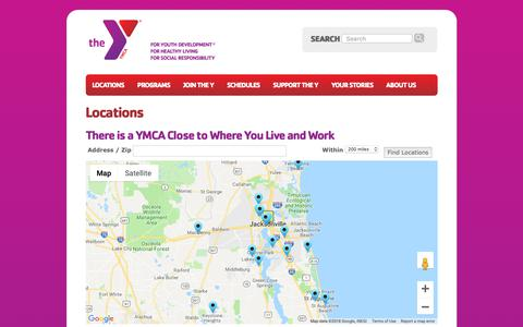 Screenshot of Contact Page Locations Page firstcoastymca.org - Locations - First Coast YMCA - captured Oct. 1, 2018