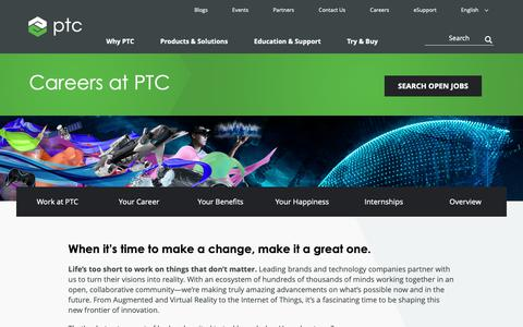 Screenshot of Jobs Page ptc.com - Careers at PTC | PTC - captured Nov. 13, 2018