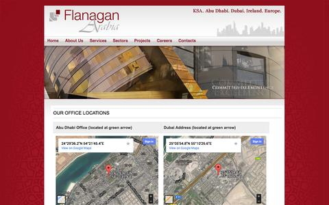 Screenshot of Locations Page flanaganarabia.ae - Our Office Locations : Flanagan Arabia - captured Oct. 6, 2014