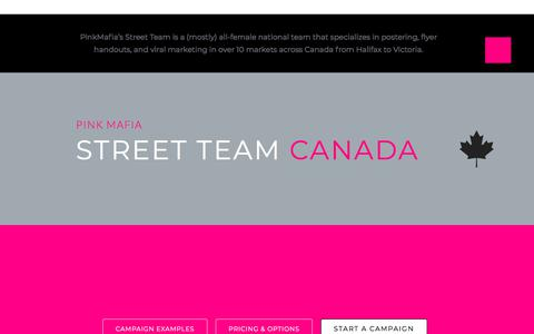 Screenshot of Pricing Page pinkmafia.ca - Nation-wide Marketing Services • Pinkmafia's Street Team - captured July 18, 2018