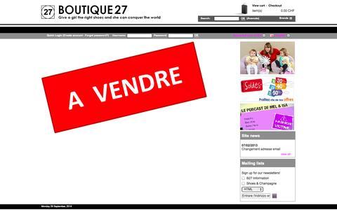 Screenshot of Home Page boutique27.com - Shoes Shop Boutique27 :: Fashion shoes for women | Shoes, stilettos and accessories for fashionistas - captured Sept. 30, 2014