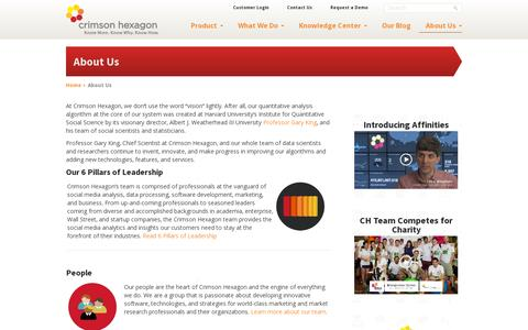 Screenshot of About Page crimsonhexagon.com - About Us - Crimson Hexagon - captured July 19, 2014
