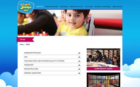 Screenshot of FAQ Page jumbokids.com - FAQS - Jumbo Kids - captured Jan. 29, 2016