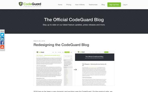 Screenshot of Blog codeguard.com - The Official CodeGuard Blog - Stay up to date on our latest feature updates, press releases and more. - captured March 30, 2016