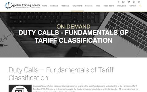 Global Training Center - Introduction Harmonized Tariff Classification Class