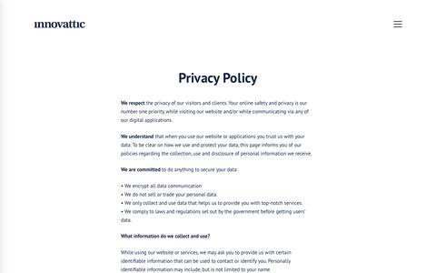 Screenshot of Privacy Page innovattic.com - Privacy policy - Innovattic - captured Oct. 15, 2017