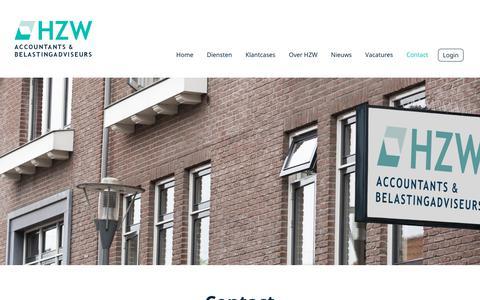 Screenshot of Contact Page hzw.nl - Contact - HZW accountants & belastingadviseurs - captured Oct. 21, 2018