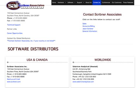 Screenshot of Contact Page scribner.com - Contact Scribner Associates Inc. - captured Feb. 16, 2016