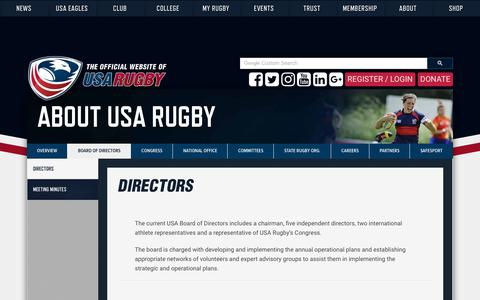 Screenshot of Team Page usarugby.org - Board of Directors   USA Rugby - captured June 25, 2018