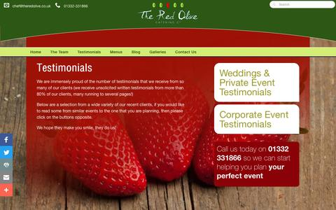 Screenshot of Testimonials Page theredolive.co.uk - What satifsfied customers say about our great catering company - captured Dec. 1, 2016