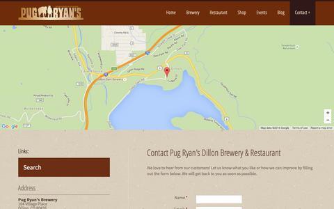 Screenshot of Contact Page pugryans.com - Contact | Dillon Restaurants | Lake Dillon Colorado - captured Feb. 2, 2016