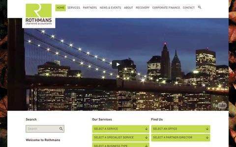 Screenshot of Home Page rothmansllp.com - Rothmans Chartered Accountants and Chartered Tax Advisors - captured Dec. 1, 2016
