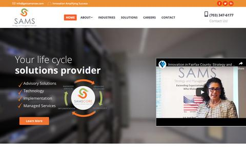 Screenshot of Home Page getsamsnow.com - Home Page | Strategy And Management Services, Inc. - captured March 12, 2019