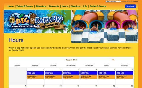 Screenshot of Hours Page bigkahunas.com - Hours | Big Kahunas Water & Adventure Park - captured Aug. 25, 2016