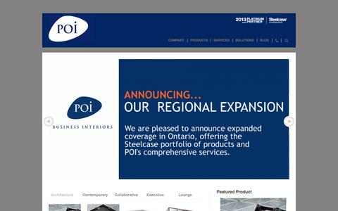 Screenshot of Home Page poi.ca - POI Business Interiors | Ontario, Canada, Toronto, GTA, London, Markham, Barrie, Muskoka, Collingwood, Huronia, Sudbury, Northern Ontario, Steelcase, office furniture - captured Oct. 1, 2014