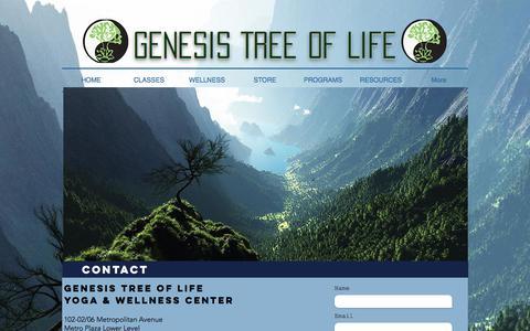 Screenshot of Contact Page genesistreeoflife.com - Genesis Tree of Life Yoga & Wellness Center | CONTACT - captured July 25, 2017