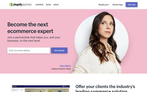 Screenshot of shopify.com - Shopify Partner Program — Become the next Shopify Expert - captured Sept. 27, 2017