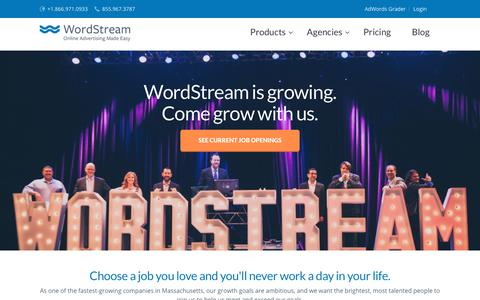 Screenshot of Jobs Page wordstream.com - Careers at WordStream - captured April 19, 2018