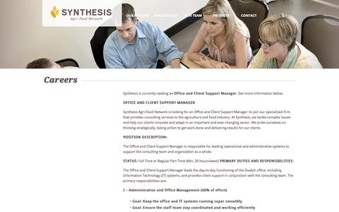 Screenshot of Jobs Page synthesis-network.com - Careers | Synthesis Agri-Food Network - captured Dec. 2, 2016
