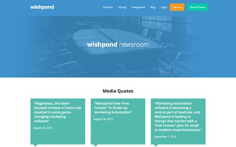 Screenshot of Press Page wishpond.com - Wishpond Newsroom - captured Aug. 13, 2016