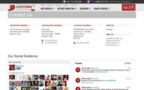 Screenshot of Contact Page vervelogic.com - Contact Us - captured Oct. 26, 2014