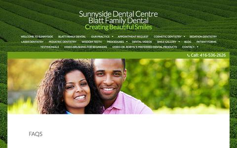Screenshot of FAQ Page sunnysidedentalcentre.com - Frequently Asked Questions About Dentistry | Sunnyside Dental Centre - captured Nov. 22, 2016