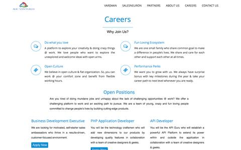 Screenshot of Jobs Page aucventures.com - CRM, Product Manager, Lead Management, Contact Management - Careers - captured Dec. 5, 2015