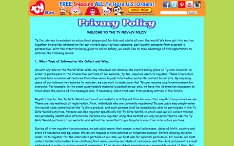 Screenshot of Privacy Page ty.com - Privacy Policy - captured Sept. 19, 2014