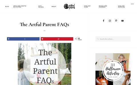 Screenshot of FAQ Page artfulparent.com - The Artful Parent FAQs - captured Oct. 18, 2018