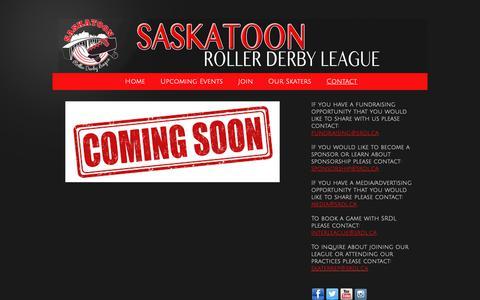 Screenshot of Contact Page saskatoonrollerderby.com - Saskatoon Roller Derby League - Contact - captured Nov. 28, 2018