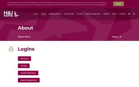 Screenshot of Login Page hjmartin.co.uk - H&J Martin | Login - captured Nov. 4, 2018
