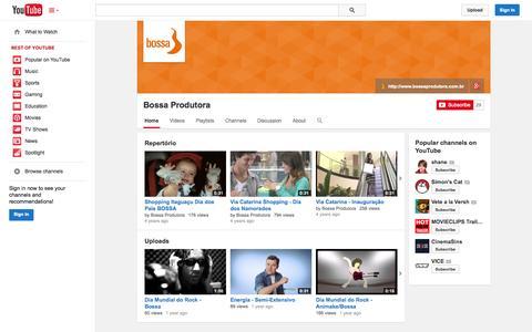 Screenshot of YouTube Page youtube.com - Bossa Produtora  - YouTube - captured Oct. 29, 2014