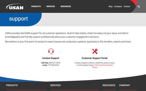 Screenshot of Support Page usan.com - USAN Support Portal - captured Oct. 26, 2019