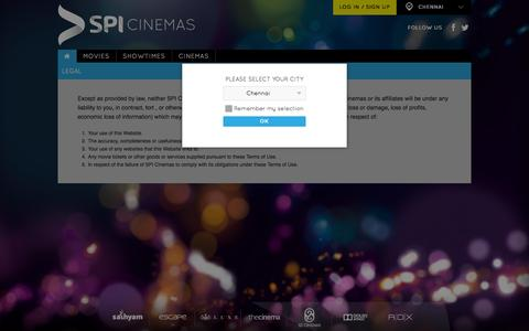 Screenshot of Terms Page spicinemas.in - Legal - captured Oct. 27, 2014