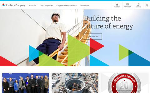 Screenshot of Home Page southerncompany.com - Southern Company Homepage - captured Feb. 13, 2018