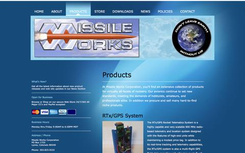 Screenshot of Products Page missileworks.com - Missile Works Corporation - Products - captured June 30, 2018
