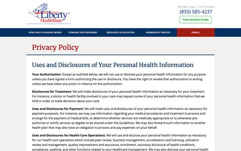 Screenshot of About Page Privacy Page libertyhealthshare.org - Privacy Policy | Liberty HealthShare - captured May 16, 2019