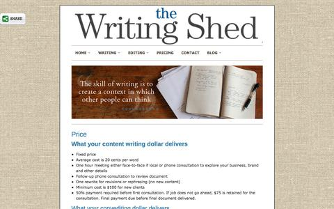 Screenshot of Pricing Page thewritingshed.com.au - Price for copywriting, content writing and editing - captured Feb. 8, 2016
