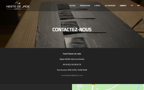 Screenshot of Contact Page hotelnestedejade.com - Contact - Hôtel Neste De Jade - captured Oct. 22, 2018