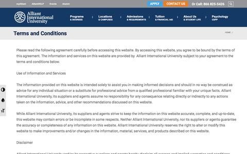 Screenshot of Terms Page alliant.edu - Terms & Conditions - Privacy Policy | Alliant International University - captured Nov. 10, 2016