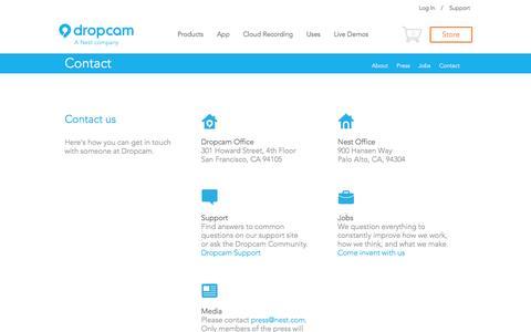 Screenshot of Contact Page dropcam.com - Contact Dropcam - captured Sept. 15, 2014