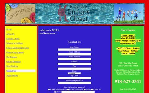 Screenshot of Contact Page uniformcloset.com - KRUC-Contact Us - captured June 18, 2016