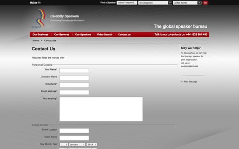 Screenshot of Contact Page speakers.co.uk - Contact | Celebrity Speakers - captured Sept. 22, 2014