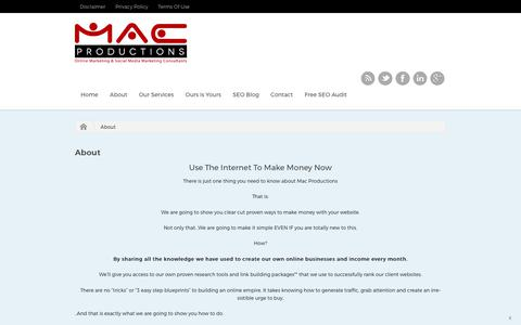 Screenshot of About Page macproductions.com - About - Online Marketing and Social Media Consultants | London - captured Oct. 4, 2017