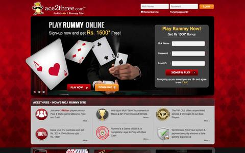 Screenshot of Home Page ace2three.com - Rummy Online | Play Indian Rummy Free, 13 Card Games at Ace2Three - captured Jan. 22, 2015