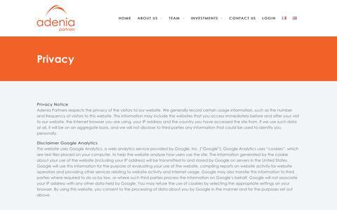 Screenshot of Privacy Page adenia.com - Privacy – Adenia - captured Oct. 7, 2017