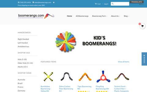 Screenshot of Home Page boomerangs.com - Boomerangs.com / Boomerangs for Sale, Australian Boomerang Sales. - captured July 8, 2018