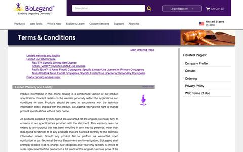 Screenshot of Terms Page biolegend.com - BioLegend Terms and Conditions - captured Dec. 5, 2018