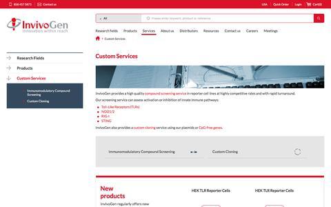 Screenshot of Services Page invivogen.com - TLR and PRR Screening Service, Custom Cloning | InvivoGen - captured Sept. 19, 2018