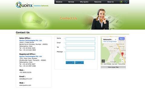 Screenshot of Contact Page quoinx.com - Welcome To Quoinx Technologies - captured Oct. 1, 2014